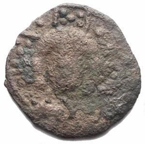 obverse: Zecche Italiane -Mileto. Trifollaro Ae. d/Cristo con nimbo perlinato. r/Croce. g 2,35. MIR 489 Emissioni anonime dei Normanni. qBB. R