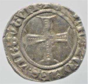 obverse: Zecche Italiane.Milano. Bernab e Galeazzo Visconti (1354-1378). Sesino. D\ Croce patente R\Biscione.Cr. 5. AG. g. 1.05.BB+.