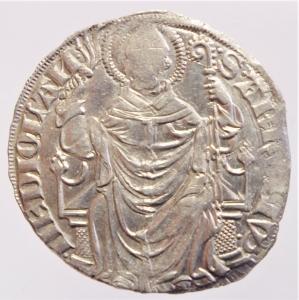 obverse: Zecche Italiane. Milano. Gian Galeazzo Visconti. 1395-1402. Pegione. AG.D\ Sant  Ambrogio in trono . Cr. 7,2. Peso 2,35 gr. Diametro 26,00 mm. qSPL.
