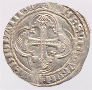 reverse: Zecche Italiane. Milano. Gian Galeazzo Visconti. 1395-1402. Pegione. AG.D\ Sant  Ambrogio in trono . Cr. 7,2. Peso 2,35 gr. Diametro 26,00 mm. qSPL.