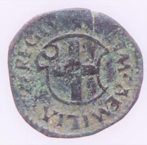 reverse: Zecche Italiane. Reggio Emilia. Bagattino Ercole I. 1471-1505. MIR 1268. Peso 1,90 gr. Diametro 15,47 mm. BB+. NC.