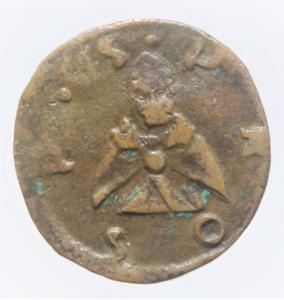 obverse: Zecche Italiane.Reggio Emilia (1523-1534) Alfonso II d  Este.Bagattino anonimo. Rara MIR 1295 CU mm 15,5 g. 0,98 q.BB. Ex Asta Aurora lotto 431