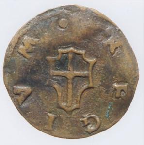 reverse: Zecche Italiane.Reggio Emilia (1523-1534) Alfonso II d  Este.Bagattino anonimo. Rara MIR 1295 CU mm 15,5 g. 0,98 q.BB. Ex Asta Aurora lotto 431