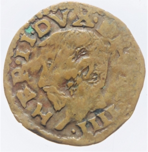 obverse: Zecche Italiane.Reggio Emilia (1471-1505) Ercole D  Este.Bagattino con busto giovanile ( NC MIR 1267 CU mm 16 g. 1,98 MB-BB. Ex Asta Aurora 1 lotto 425