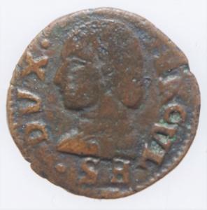 obverse: Zecche Italiane. Reggio Emilia .Ercole II dEste (1534-1559) Bagattino con ritratto e stemma RR MIR 1328 CU mm 17 g. 0,82 MB+. Ex Asta Aurora 1 lotto 443