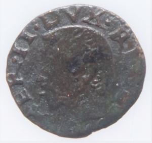 obverse: Zecche Italiane.Reggio Emilia Ercole II dEste (1534-1559) Bagattino con la pisside RR MIR 1330 CU mm 15 g. 1,24 MB-BB. Ex Asta Aurora1 lotto 444