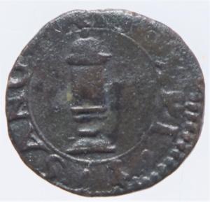 reverse: Zecche Italiane.Reggio Emilia Ercole II dEste (1534-1559) Bagattino con la pisside RR MIR 1330 CU mm 15 g. 1,24 MB-BB. Ex Asta Aurora1 lotto 444