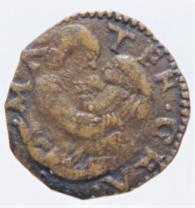 reverse: Zecche Italiane.Reggio Emilia (1534-1559) Ercole II dEste (1534-1559) Bagattino con ritratto e B. Vergine MIR 1333 CU mm 15 g. 0,61 MB+. Ex Asta Aurora 1 lotto 445