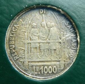 reverse: Zecche Italiane. San Marino. 1000 lire 1977 in confezione. GG