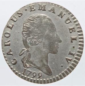 obverse: Casa Savoia. Carlo Emanuele IV (1796-1802).2,6 soldi 1799. Peso 2,50 gr. R.Pagani 8. MI. BB+.