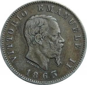 obverse: Casa Savoia. Vittorio Emanuele II. 1 Lira 1863M Stemma. Patinata.Ag. rf