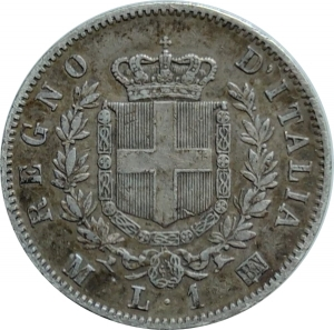 reverse: Casa Savoia. Vittorio Emanuele II. 1 Lira 1863M Stemma. Patinata.Ag. rf