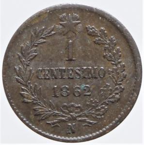 reverse: Casa Savoia. Vittorio Emanuele II. 1861-1878. 1 Centesimo 1862 Napoli. Gig.114 .NC.R.SPL