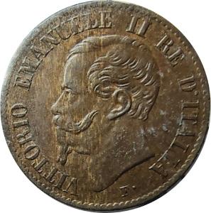 obverse: Casa Savoia. Vittorio Emanuele II. 1 Centesimo 1867 T. RR. qFDC. Perizia Esposito. rf