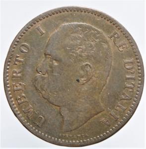 obverse: Casa Savoia. Umberto I. 5 Centesimi 1895. Peso 5,00 gr. Diametro 25 mm. Pagani 617.BB