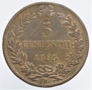 reverse: Casa Savoia. Umberto I. 5 Centesimi 1895. Peso 5,00 gr. Diametro 25 mm. Pagani 617.BB
