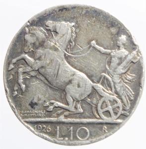 reverse: Casa Savoia. Vittorio Emanuele III. 1900-1943. 10 lire 1926 Biga. Ag.MB+.