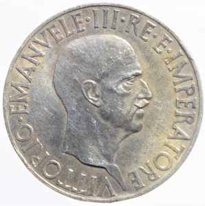 obverse: Casa Savoia . Vittorio Emanuele III (1900-1943). 10 lire 1936. Pag. 700. AG.BB+.Patina Iridescente