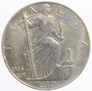 reverse: Casa Savoia . Vittorio Emanuele III (1900-1943). 10 lire 1936. Pag. 700. AG.BB+.Patina Iridescente