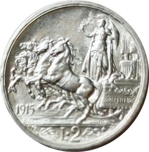 reverse: Casa Savoia. Vittorio Emanuele III. 2 lire 1915. qFDC. Ag. rf