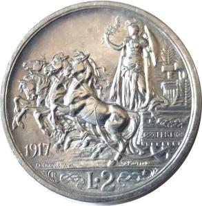 reverse: Casa Savoia. Vittorio Emanuele III. 2 lire 1917. qFDC. Ag. NC. rf