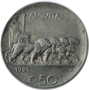 reverse: Casa Savoia. Vittorio Emanuele III. 50 centesimi 1921 C/ rigato. Conservazione superiore alla media. rf