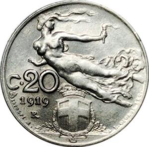 reverse: Casa Savoia. Vittorio Emanuele III. 20 Centesimi Librata 1919. FDC. NC. Di grande freschezza e lucentezza. rf
