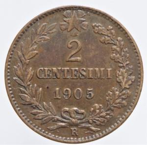 reverse: Casa Savoia. Vittorio Emanuele III. 1900-1943. 2 centesimi 1905. CU. Pag. 927. Mont. 399. BB. R.