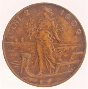 reverse: Casa Savoia. Vittorio Emanuele III. 1900-1943. 2 Centesimi 1909. AE. Gig. 299.BB.