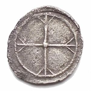 reverse: Mondo Greco -Sicilia.Gela.Obolo ?? ca. 480-470 a.C.D/ Protome di toro che nuota a destra.R/ Ruota a quattro raggi.AG.g 0,27. mm 9,2 x 9,9.BB+.