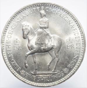 obverse: Monete nel Mondo.Gran Bretagna.Five Shilling 1953.Ar.SPL