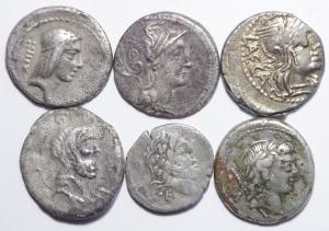 obverse: Lotti.Roma Repubblica. Lotto di 5 denari e 1 quinario,Calpurnia,Claudia,Porcia,Crepusia suberato,Cornelia e Cloulia,mediamente MB\qBB....