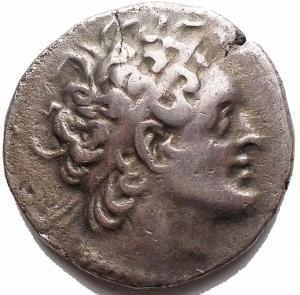 obverse: Mondo Greco - EGITTO. Tolomeo VIII. Salamina. Tetradrachm (138 a.C.). AR 13,78 g. d / Busto di Tolomeo I a destra. R / Aquila a sinistra. Nel campo elmo. BMC VI, 90.20. Svoronos-1541.c. BB+