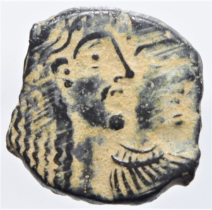obverse: Mondo Greco. Nabatea. Aretas IV Petra 9 a.C - 40 d.C. D/ Busti affiancati di Aretas e Shuqailat verso destra . R/ due cornucopiae. Meshorer (Nabatean Coins) 114. SNG ANS 1438-1443. AE. g. 2,00 mm. 19.00 .BB+.Bellissima patina deserto