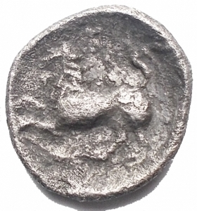 reverse: Mondo Greco - Lucania. Heraclea. Diobolo. AR. 4-3 Sec aC. d/ Ercole a ds r/ Leone a sn. gr 0,95. mm 11,7 x 12,4. BB+. Raro