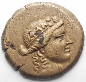 obverse: Mondo greco - KINGS OF BITHYNIA. Prusias II Cynegos (182-149). Ae. d/ Dioniso a ds r/BAIE YIOY. Il Centauro Chiron stante con Lira. gr 5,55. mm 23,3. SNG Copenhagen 636; BMC 12-13; HGC 7, 629. BB+/BB