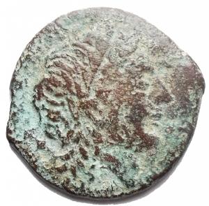 obverse: Mondo Greco -Apulia, Salapia.AE. ca. 225-210 a.C.D/ Testa di Apollo a destra. Davanti, AAINN.R/ Cavallo a destra. Sopra, un tridente. Sotto, YOY.HN (Italy) 692.g 4,68. MB-qBB.