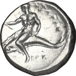 reverse: Southern Apulia, Tarentum. AR Nomos, 332-302 BC