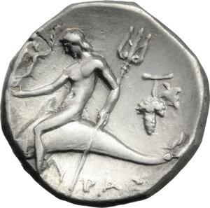 reverse: Southern Apulia, Tarentum. AR Nomos, c. 272-240 BC. Histiar-and Eu-magistrates
