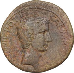 obverse: Augustus (27 BC - 14 AD).. AE As, 15 BC