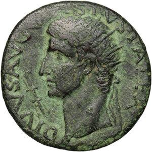 obverse: Augustus (27 BC - 14 AD).. AE As, struck under Tiberius, 15-16