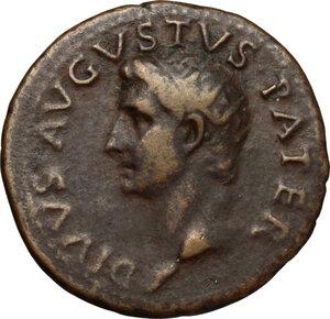 obverse: Augustus (27 BC - 14 AD).. AE As, struck under Tiberius, 22-30