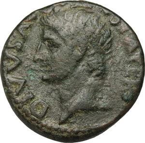 obverse: Augustus (27 BC - 14 AD).. AE As, struck under Tiberius, 34-37