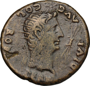 obverse: Augustus (27 BC - 14 AD).. AE Dupondius, Spain, Colonia Romula mint, after 16 AD