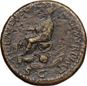 reverse: Nero Claudius Drusus (died 9 AD).. AE Sestertius, 41-50