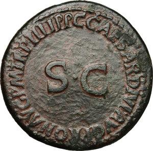 reverse: Nero and Drusus Caesar (died 31 and 33 AD respectively).. AE Dupondius, struck under Caligula, 39-40