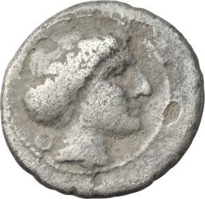 obverse: Northern Lucania, Velia. AR Obol, period V, Theta Group, c. 340 - c. 334 BC