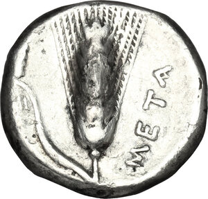 reverse: Southern Lucania, Metapontum. AR Stater, 340-330 BC