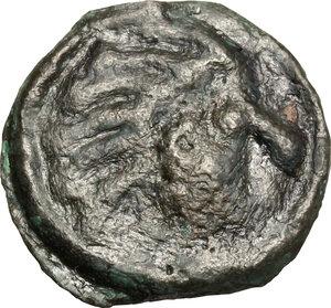 obverse: Northwest Gaul, Senones. Potin Unit. Circa 100-50 BC