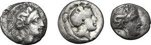 obverse: Southern Lucania, Thurium. Lot of 3 AR Triobols, 400-350 BC